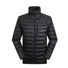 Men's Flare Standard Fit Down Jacket; Black