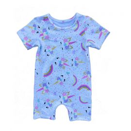 Baby Girls Printed Romper; Blue