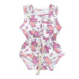 Baby Girls Sleeveless Printed Romper; White