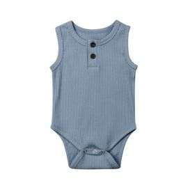 Baby Girls Sleeveless Knitted Romper; Blue