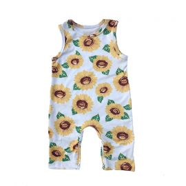 Baby Boys Sleeveless Printed Romper; White