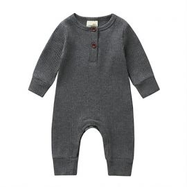 Baby Girls Ribbed Button-up Romper; Gray
