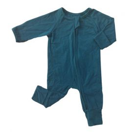 Baby Boys Cotton Romper w/ Zipper; Teal