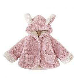 Girls Wool Coat w/ Bunny Ears; Pink