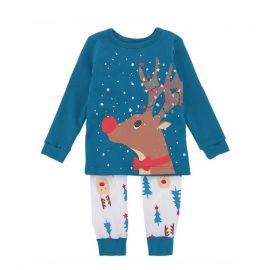 Girls Knit Christmas Pyjama Set; Blue