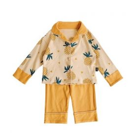 Boys Cotton Pineapple Print Pyjama Set; Orange