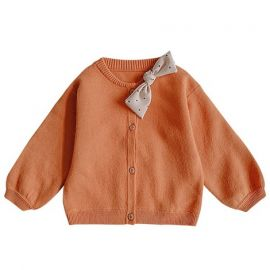 Girls Cardigan w/ Bow; Orange