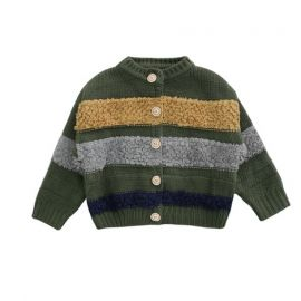 Girls Cardigan w/ Wool Patchwork; Green