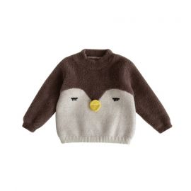 Girls Cartoon Sweater; Brown