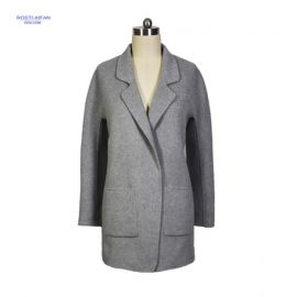 Gray Woolen Lapel Coat