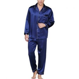 Men's Satin Pyjama Set; Blue