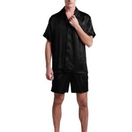Men's Satin Pyjama Set; Black