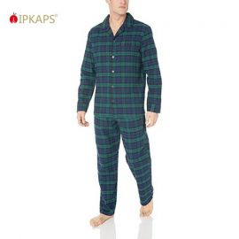 Men's Plaid Pyjama Set; Blue