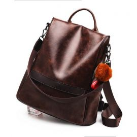 Fashion Shoulder Backpack for Women; Dark Brown