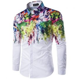 Mens Color Splash Dress Shirt